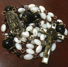 Vintage Mother of Pearl Black Obsidian Beads ROSARY & bronze Cross NECKLACE