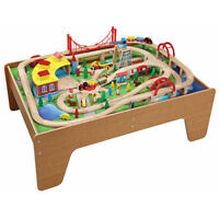 130pcs Wooden Train Set with Activity Table 50050 - Brio Bigjigs Compatible