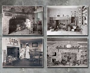 Colonial & Victorian kitchens photos lot, 5x7s or CD, cooking fires kettles pots