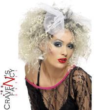 80s Wild Child Madonna Wig & Bow Blonde Adult Fancy Dress Womens Ladies New