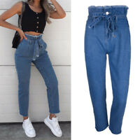 S-5XL Women's Denim Skinny Ripped Pants High Waist Stretch Jeans Pencil Trousers
