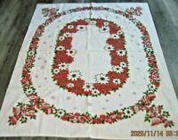 Vintage Christmas Cotton Tablecloth w/Ornaments/Pointsettias/Snowflakes~50 x 64