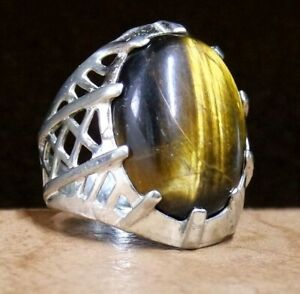 925 sterling ring silver mens ring natural Tiger's Eye stone middle eastern ring