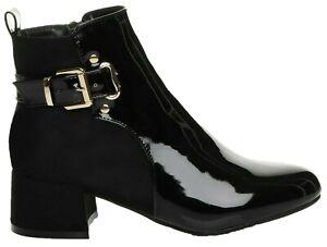 Ankle Chelsea Boots Buckle Zip Block Low Heel Patent Shoes Ladies Size UK Womens