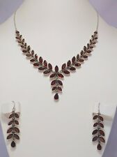Handmade 925 stamped Sterling Silver Garnet Gemstone Necklace Earring