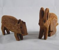 Hand Carved Wooden Farm Animals Bunny Rabbit & Pig Figurines Vintage Rustic Toys