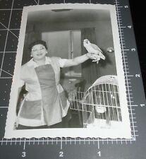 1950's WOMAN w/ Pet BIRD Parakeet CAT EYE GLASSES Cage Vintage Snapshot PHOTO