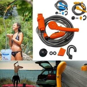 Portable Outdoor Shower Kit 12V Handheld Camping Showers Water Pump W/ I9D5