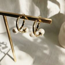 NEW Fashion 18k Yellow Gold Pearl Earrings