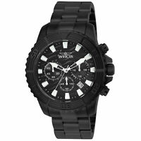 Invicta Men's Watch Pro Diver Chronograph Black Dial IP Steel Bracelet 24005
