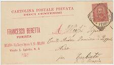 MILANO - FRANCESCO BERETTA FUMISTA 1896 CARTOLINA POSTALE PRIVATA?