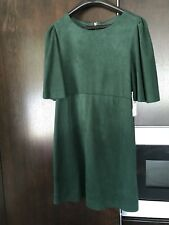 New ZARA Stylish Suede Mini Dress Tunic Size S Dark Green Spring Summer