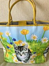 ISABELLA FIORE HANDBAG SHOPPING TOTE PURSE YELLOW LIGHT BLUE CAT KITTEN BEADED