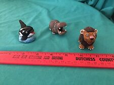 Vintage Zoonies Whale Hippo Lion Pottery Ceramic Figurines Made in Peru Lot of 3