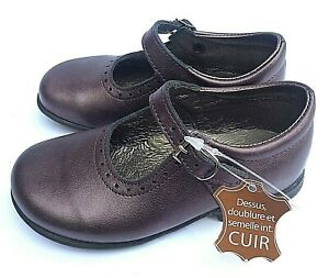 Bopy Savenay classic Girls Mary Jane plume glittery leather with rubber sole