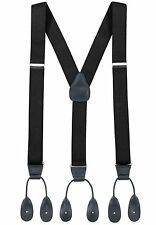 NEW Mens Black Button Suspenders Tuxedo Braces Y Back Real Leather Elastic USA