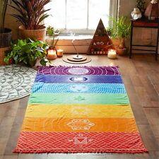 P/D Regenbogen Strandtuch boho Yoga 7 Chakras Teppich Wandteppich Handtuch Matte