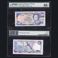 [PMG] Bermuda 10 Dollars, 1989, P-36, PMG EPQ 66, Tuna Fish, UNC
