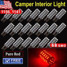 20 x Super Red 1141 Camper Trailer 68SMD LED 1003 1156 Interior Light Bulb BA15S