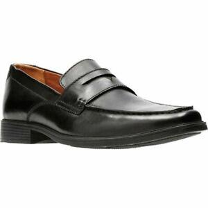 Clarks Men Penny Moc Toe Loafers Tilden Way Size US 12W Black Leather