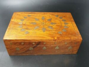 Vintage decorative wooden box with brass inlay, handmade, woodenware