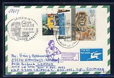 58619) LH FF Lipsia-Londra 1.11.93 CARD Feeder mail Israele ANIMAL LEONE LION