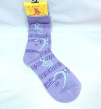 Womans Music Crew Socks Lavender Silver Metallic Thread Size 9-11 Staff Clefs