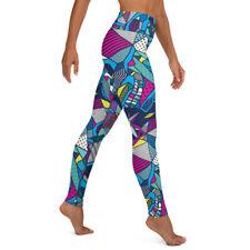 Colorful Skulls yoga pants blue legging skull yoga pants capri or ankle length