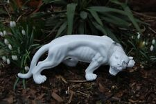 Figur Panther schleichend weiß Halsband mit Strass Figur Groß Neu