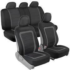 Modern Mesh Car Seat Covers Panel Trim Gray on Black/Grey Front Rear Bench 9pc
