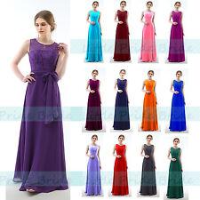 LACY CHIFFON FULL LENGTH  BRIDESMAID EVENING DRESSES SIZE 6-24 JS60 (SIZE 6-24)