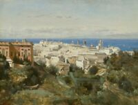 View of Genoa Camille Corot Cityscape Painting Print CANVAS Fine Art Giclee 8x10