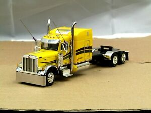 """Dcp Custom yellow/chrome stretched frame Peterbilt 379 63""""stand up tractor 1/64"""