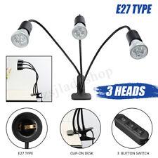 Flexible 3 têtes pince Bureau Table lampe E27 ampoule Stand support col de cygne