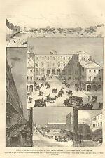 PARIS GARE SAINT-LAZARE RECONSTRUCTION L' ANCIENNE GARE IMAGE 1885 OLD PRINT