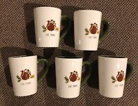 TAG Coffee Tea Mugs Thankgsgiving Embossed Turkey GIVE THANKS (Set of 5) New