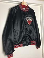 VTG Chalk Line Chicago Bulls Satin Jacket XL Team 80s 90s NBA Patch Warm Up Bred