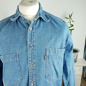 mens levis denim shirt size m medium large blue long sleeved logo buttons