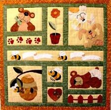New Applique Crib Quilt Pattern   BEES BUNNIES and BEARS  48X48