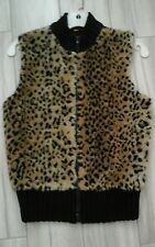 Women Faux Fur & Black Knit Zip Front Vest    Size S