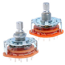 2*  Rotary Switch Selector 2-Pole 6-Position 4Way Guitar Amplifier  Switch