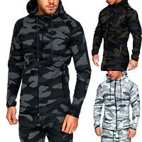 Men's Camo Zip Hoodie Classic Sport Hooded Zipper Sweatshirt Outwear Coat Jacket