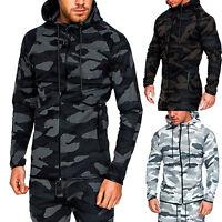 Men's Camo Zip Hoodie Classic Sport Hooded Zipper Sweatshirt Outwear Coat Jacket