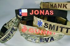 DOG COLLAR, PERSONALIZED, MILITARY, COLLEGE, FLAG, ETC.