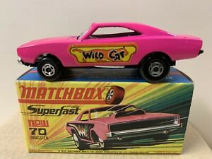 LESNEY MATCHBOX  SUPERFAST 70B DODGE CHARGER DRAGSTER WILDCAT LABELS  NIOB