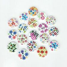 50 Wooden Buttons Mixed Flowers Shabby Chic Craft Scrapbook Sew Card making 18mm