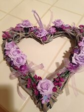 Wicker Heart Hanging Wreath Country Farmhouse Beautiful Lavender Roses Heart