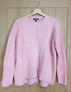 Lands End size medium 12 / 14 pink cotton blend chunky cable knit jumper