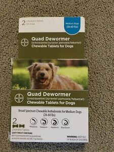 Bayer Quad Dewormer For Medium Dogs 26-60 lbs - Exp/22