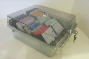 """57 3.5"""" 3½ HD 1.44MB Double Sided Floppy Discs Disks Untested + Locking box"""